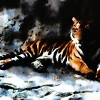 Tiger from bkk zoo digital watercolor by Julien Menet