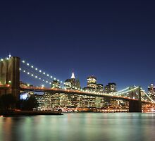 Brooklyn Bridge at Night by DLiuPhoto