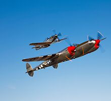 A P-38 Lightning & P-51D Mustang by StocktrekImages