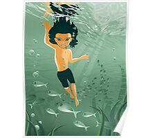 boy exploring underwater Poster
