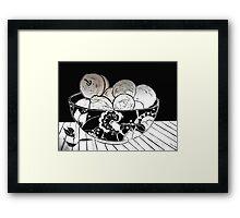 My Gorgeous Fruit Bowl - Linocut Framed Print