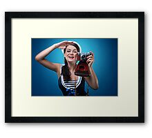 """""""Pose just like this"""" Pin-up Girl Framed Print"""