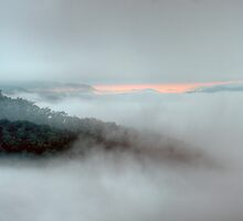 Misty Morn #2 - Merlin's Lookout -Hill End,NSW, Australia - The HDR Experience by Philip Johnson