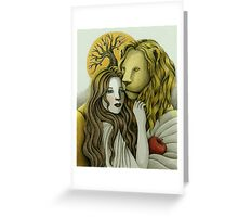 By Sunset - The Lady and the Lion Greeting Card
