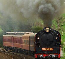 Steam Loco R761 steams into Drouin. by Bev Pascoe