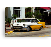 Miami Beach Classic Car with Watercolor Effect Canvas Print