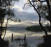 Wallaga Lake, Late Afternoon Misty Gulaga Mountain by pcbermagui