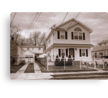 House and Driveway B&W Canvas Print