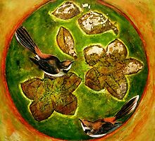 "Green Collagraph 1 by Belinda ""BillyLee"" NYE (Printmaker)"