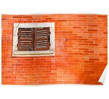 Window on orange wall Poster
