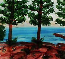 Looking out at Tahoe from Balcony #1, Series, watercolor by Anna  Lewis