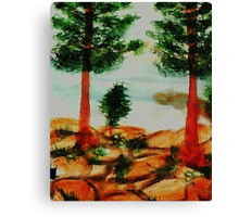 Looking from Balcony onto Lake Tahoe #2, Series, watercolor Canvas Print