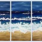 'BEFORE THE STORM' tryptych acrylic textured seascape by Lisa Frances Judd~QuirkyHappyArt