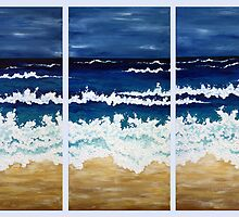 'BEFORE THE STORM' tryptych acrylic textured seascape by Lisa Frances Judd ~ QuirkyHappyArt