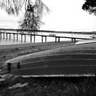 Old boat and Jetty -Tamar Valley    B&W by lighthousecove