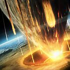 A giant asteroid collides with the earth.  by StocktrekImages