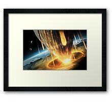 A giant asteroid collides with the earth.  Framed Print