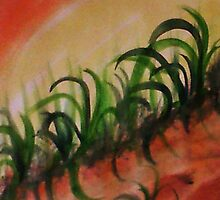 Reeds and weeds growing on a slope, watercolor by Anna  Lewis