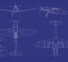 Messerschmitt ME109 Blueprint by Michael Tompsett