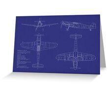 Messerschmitt ME109 Blueprint Greeting Card