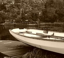 Boats at Risby Cove -Strahan -Tasmania  -  sepia by lighthousecove