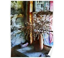 Dried Flowers on Windowsill Poster