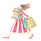  Girl shopping ,illustration of the story &quot;backpack&quot; by vimasi