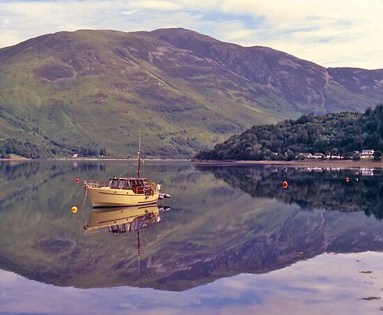 Loch Leven, reflections, Glencoe, Scotland. by johnrf