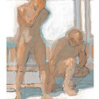 two male nudes by David  Kennett