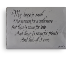 Commissioned calligraphic work Canvas Print