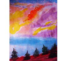 Colorful clouds over the pines, watercolor Photographic Print