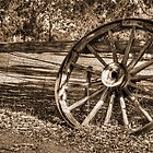 Wagon Wheel in Sepia by Eve Parry