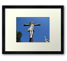 Statue of Jesus On The Cross Framed Print