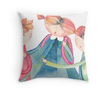"""group of schoolchildren,illustration of the story """"backpack"""" Throw Pillow"""