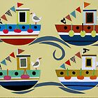Four Jolly Fishing Boats by Amanda White