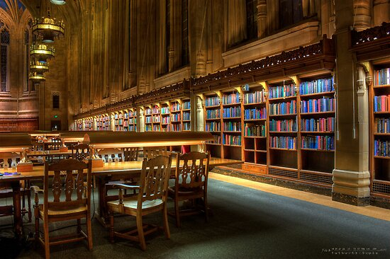 Bookshelves in the Library by yatharth