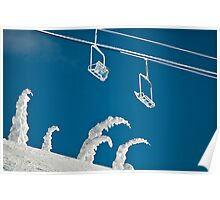 Snow sculptures and frozen chairs Poster