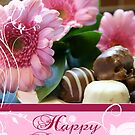 Pink Floral Birthday Card With Chocolates by Moonlake