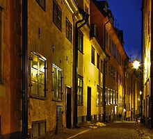 Street at night in Old Town. by cloud7