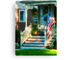 Porch With American Flag Canvas Print