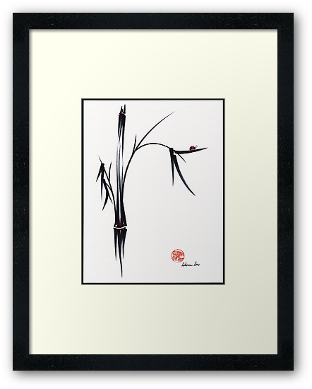 """Gentle Soul"" Chinese japanese ink brush pen painting by Rebecca Rees"