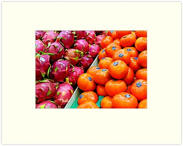 Persimmons and Dragon Fruit by Richard Shakenovsky
