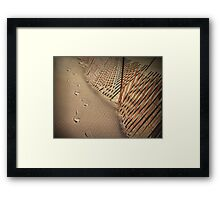 Footprints and Retaining fence on a Lake Michigan Beach Framed Print