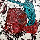 Blue Bird Woodcut by Belinda &quot;BillyLee&quot; NYE (Printmaker)