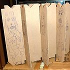 drawings on cardboard inserts from liquor carton, photo #6 by Stacey Lazarus
