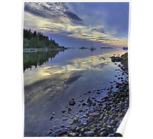 Nordic summer night seascape. Poster