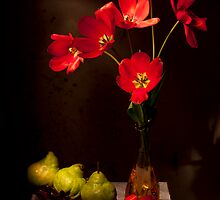Red tulips with Pears Still life by Ondřej Smolka