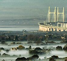 Misty morning, Severn Bridge, Bristol, towards Wales by buttonpresser