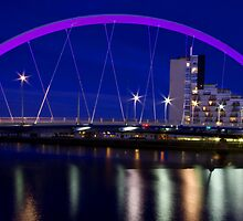 Squinty Bridge in Glasgow, Scotland after sunset by Birgit Van den Broeck