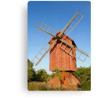 Old wooden windmill. Canvas Print